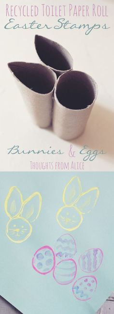 Simple Easter Crafts for Kids - Tissue Paper Roll Easter Bunny and Egg Stamp. Easter Art, Easter Crafts For Kids, Toddler Crafts, Preschool Crafts, Easter Bunny, Diy For Kids, Easter Eggs, Easter Crafts For Preschoolers, Easter Ideas For Kids