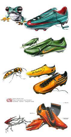 축구화의 색과 디자인할때 모티브로 삼은 것들이 눈에띄는 스케치이다.