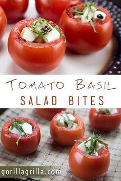 Tomato Basil Salad Bites Appetizer