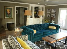 Portfolio A Storied Style Design Blog Dedicated To Sharing The Stories Behind Teal Sofaturquoise Couchblue Couchesliving Room