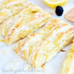 This flaky Lemon Cream Cheese Danish is an easy breakfast or brunch recipe made with puff pastry and filled with a creamy, sweet and tart filling. This is the perfect pretty but easy recipe for Mother's Day brunch. Strudel, Best Brunch Recipes, Breakfast Recipes, Dessert Recipes, Breakfast Pastries, Breakfast Ideas, Fruit Dessert, Dessert Ideas, Favorite Recipes