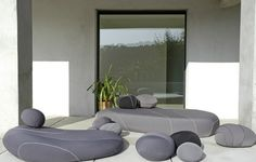 Neolivingstones - a range of outdoor furniture designed to look like giant pebbles