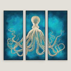 New 'Octopus' 3 Piece Graphic Art Plaque Set by Willa Arlo Interiors Wall Art Decor. Fashion is a popular style Octopus Wall Art, Cactus Wall Art, Cactus Print, Octopus Decor, Wall Art Sets, Wall Art Decor, Painting Frames, Painting Prints, Art Paintings