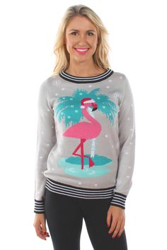 Women's Flamingo Palm Tree Sweater | Tipsy Elves