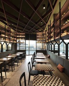 Black Livia chairs designed by Gio Ponti of L'Abbate at PECK Citylife in Milan. These Livia chairs… Restaurant Milan, Restaurant Design, Restaurant Concept, Gio Ponti, Villas, Architecture Design, Wooden Panelling, Café Bar, Cafe Interior