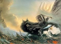 Morgoth  & the fall of Fingolfin , John Howe Artist, Cover of the JRR Tolkien book The Lays Of Beleriand, No 3 of the History of Middle Earth.