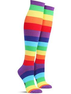 9aab8f078 Emerging through the clouds of boring socks are these awesome rainbow  striped knee highs