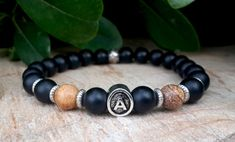 Mens Initial Bracelet, Personalized Letter, Initial Men's Bracelet, Mens Jewelry, Onyx, Jasper, Mens Yoga Jewelry, Man Personal Accessories