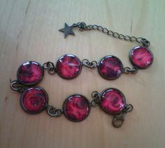 Cabochon-Armband in bronze 12mm mit roten Rosen :)