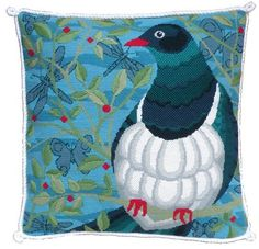 Kereru Contemporary Needlepoint Kit. A great way of trying new stitches included in this kit.