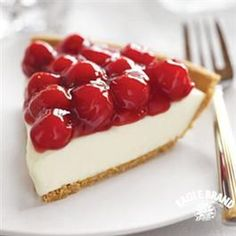 Cherry Cream Cheese Pie. By FAR one of my favorite desserts of all time. A must try recipe. Make sure ingredients are soft before combining and then mix well so the mixture is smooth. WARNING if you sample as you go you will eat half the mixture. It's that good