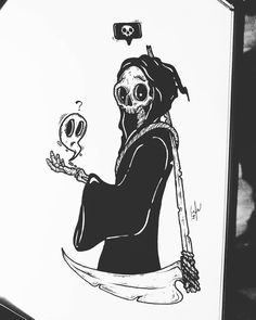 Arte criada por Billy Russo (r_billy. Dark Drawings, Ink Pen Drawings, Cool Drawings, Dark Art Illustrations, Illustration Art, Pretty Art, Cute Art, Cute Skeleton, Arte Obscura