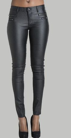 Low Waist Double Zipper Button Slim PU Leather Pants - Meet Yours Fashion - 2 Leather Trousers Outfit, Leather Tights, Leather And Lace, Pu Leather, Legging Outfits, Pants Outfit, Fall Fashion Outfits, Trendy Outfits, Pants For Women