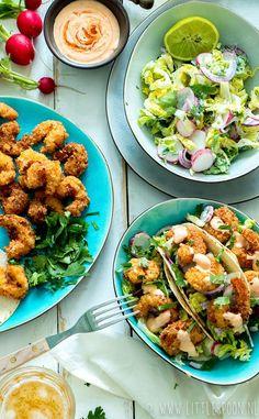 Bang bang garnalen taco's - Little Spoon Shrimp Sushi, Bang Bang Shrimp, Scampi, Food Blogs, Tex Mex, Lunches, Foodies, Nom Nom, Spicy