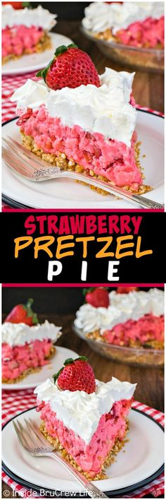 Strawberry Pretzel Pie - a sweet and salty crust and a creamy strawberry filling makes this easy no bake pie recipe a fun spring or summer dessert! Pie Dessert, Cookie Desserts, No Bake Desserts, Easy Desserts, Delicious Desserts, Yummy Food, Fun Food, Strawberry Pretzel Pie, Strawberry Filling