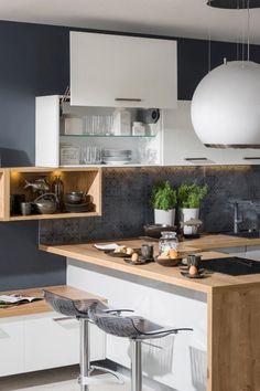 kuchyňa: Iris vyhotovenie: Biela Vysoký Lesk / Perla Šedá Vysoký Lesk / Dub Arlington House Plans, Interior Decorating, Arctic, Table, Kitchens, Inspiration, Furniture, Decoration, Home Decor