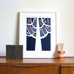The Woods Screen Print | Navy : Naomi Murrell