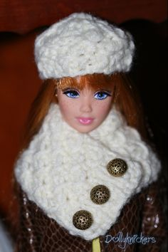 Cowl neck scarf with button closure and hat to match, hand knit in mini cross stitch pattern for Barbie.  Very sophisticated.