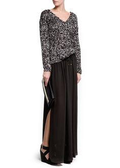 Slits sheer maxi skirt