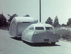 "Vintage Cars ""streamlined"" vintage car and camper.built in the by Angelo R. See my vintage camper photos and ads for a link to a short video about this combo. Airstream Travel Trailers, Vintage Travel Trailers, Old Campers, Retro Campers, Vintage Campers, Vintage Rv, Vintage Caravans, Vintage Vans, Vintage Trends"