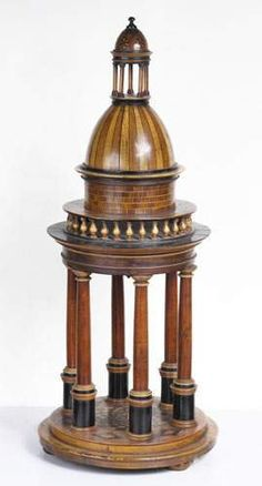 A lovely wooden Tempietto of 6 columns of beautifull dimention ; on a two-stepped elevation, surmounted by a dome with protective balcony & a pinneacle supported by 5 smaller columns ; with inlaid marquetry floring of various types ; among others... rosewood, mahogany, ebony & many others...
