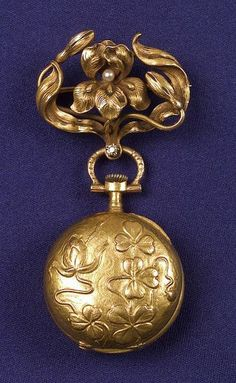 Art Nouveau 18kt Gold Open Face Lapel Watch