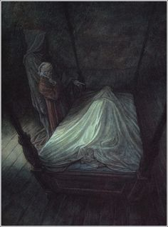 The Ghost Of Christmas Yet To Come shows Scrooge the dead man - By Illustrator P. J. Lynch