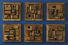 Framed pieces of reclaimed wood put together in a compositions that amplifies positive and negative space while keep with woods natural characteristics. Wood Wall Tiles, Reclaimed Wood Art, Phillips Collection, Wood Sizes, Organic Modern, Wall Decor, Wall Art, Wall Sculptures, Wood Blocks