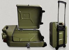 Danish Fuel's Repurposed Jerry Can Products Look Surprisingly Stylish Jerry Can Mini Bar, Car Furniture, Ammo Cans, Creation Deco, Jeep Accessories, Land Rover Defender, Metal Working, Repurposed, Suitcase