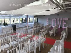 "Hire our beautiful Chiavari chairs & 5ft ""LOVE"" light up letters for your wedding at Ness Botanical Gardens, Ness, Neston.  Contact Jen Lemon-Parkins at the Gardens."
