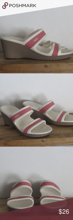 Crocs Pink & White Heels Sz 11 New without box Crocs Rose Pink & White Platform Wedge Heels Sandals Slides Women's Size 11 New and unused without box  Like other items in my closet?  Make a bundle and I'll send my best offer! crocs Shoes Heels