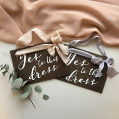Emily K Weddings- Yes to the dress signs. Bridal sign. https://emilykweddings.com/services/calligraphy-signs/