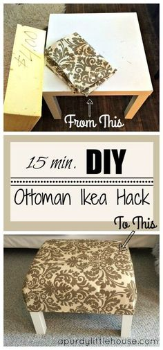 DIY Ottoman/Coffee Table – Ikea Hack I could do a cross-stitch for the material.