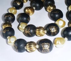 """Black & cream bead necklace, painted wood, pearl glass beads 20"""" long (51cm)"""
