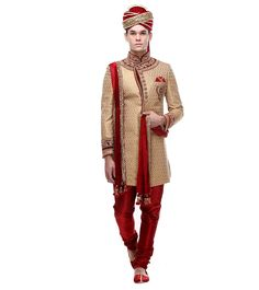 Beige & Maroon Embroidered Brocade Silk Sherwani #Partywear #Ethnicwear #Lehengas #Sherwanis Wedding Sherwani, Indian Ethnic, Beige, Silk, How To Wear, Silk Sarees