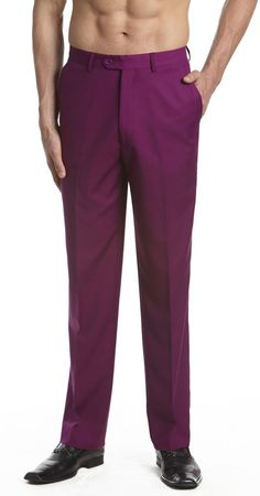 CONCITOR Men's Dress Pants Trousers Flat Front Slacks EGGPLANT PURPLE #Concitor #DressFlatFront