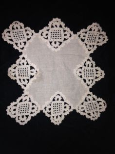 Vintage 9 x 9 Doily Square Cross Ecru Linen Center Border Handmade Crochet
