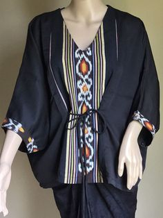 Ethnic Indonesian Woven Tenun Jepara Mix Blouse - OS