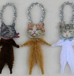 Vintage style Christmas feather tree ornaments handmade and designed by me, Stephanie Baker of Old World Primitives. Each ornament is made of chenille and Victorian scrap cat faces printed on card stock. Shabby Chic Christmas Ornaments, Dog Ornaments, Christmas Ornament Sets, Vintage Ornaments, Handmade Ornaments, Christmas Cats, Handmade Christmas, Primitive Ornaments, Antique Christmas