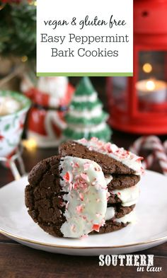 Dipped in white chocolate and sprinkled with crushed candy canes, these Peppermint Bark Cookies are so easy to make – and secretly vegan and gluten free! Perfect for Christmas cookie exchanges, holiday desserts and parties. Healthy Christmas Recipes, Easter Recipes, Holiday Desserts, Holiday Recipes, Gluten Free Cookie Recipes, Gluten Free Cookies, Vegan Recipes, Chocolate Peppermint Cookies, Peppermint Bark