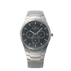 Sale - Titanium Multifunction Watch Lightweight meets function. A solid, vertically-brushed titanium link band connects to a round titanium case. The sunray grey dial is layered and features chrome and white luminous indicators and hands, as well as triple multifunction.