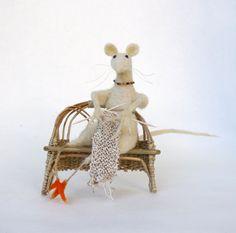 White Mouse Knitter  Needle Felted  Art Doll by FeltArtByMariana, $80.00