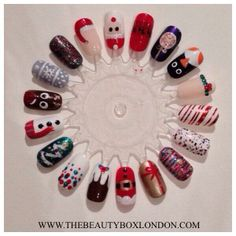 Jessica Christmas nail art designs. Created by Sophia at The Beauty Box.