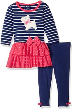 Little Me Baby Girls Knit Dress with Legging Set Navy Multi 24 Months