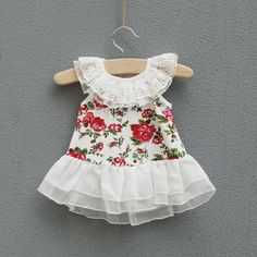 Retail Baby clothes Girls one piece dress summer flora flower dress lace collar princess cute dress Infant wear 0 24month-inDresses from App...