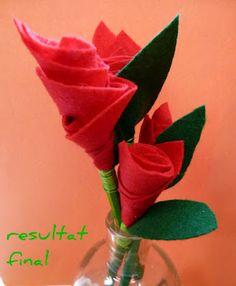 Sant Jordi. Una rosa de feltre. Spring Art, Saint George, Flower Art, Art Flowers, Valentines Day, Felt, Quilts, Knitting, Sewing