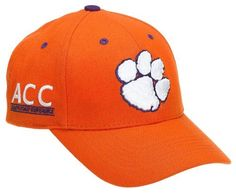 "Clemson Tigers Adult Adjustable Hat, Orange Top of the World. $15.95. Primary 3D logo on the front. Team name on the backstrap. 0"" wide. Velcro backstrap closure. 0"" high. Conference mark on the side. Team color adjustable wool hat"