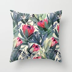 Painted Protea Pattern Throw Pillow Indoor 16x16 with pillow insert $27.00