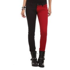 Royal Bones By Tripp Blood Red And Black Split Leg Skinny Jeans Hot... ($3) ❤ liked on Polyvore featuring jeans, pants, bottoms, 5 pocket jeans, stretch skinny jeans, skinny jeans, super stretch jeans and stretchy jeans