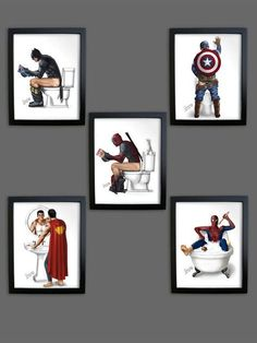 SET of *5* Bathroom PRINTS UNFRAMED Superhero Superman Spiderman Captain America Batman Pooping Peeing Man Cave Poster Decal Boyfriend Gift